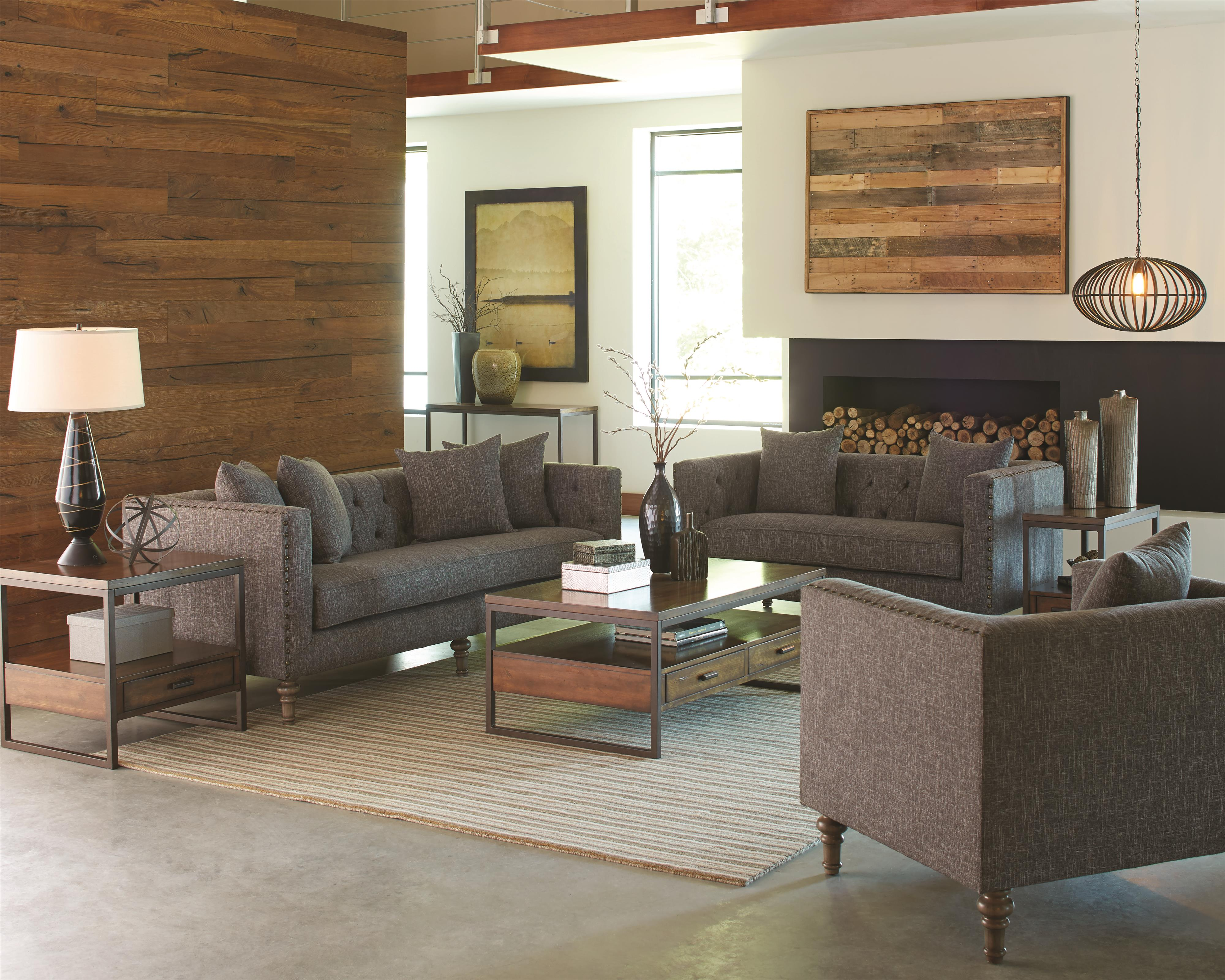 Loveseat with Traditional Industrial Style by Coaster | Wolf and ...