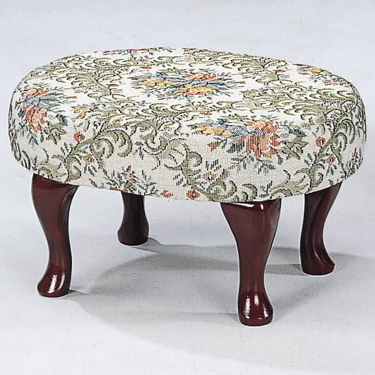 Cherry Finish Upholstered Foot Stool with Shapely Legs