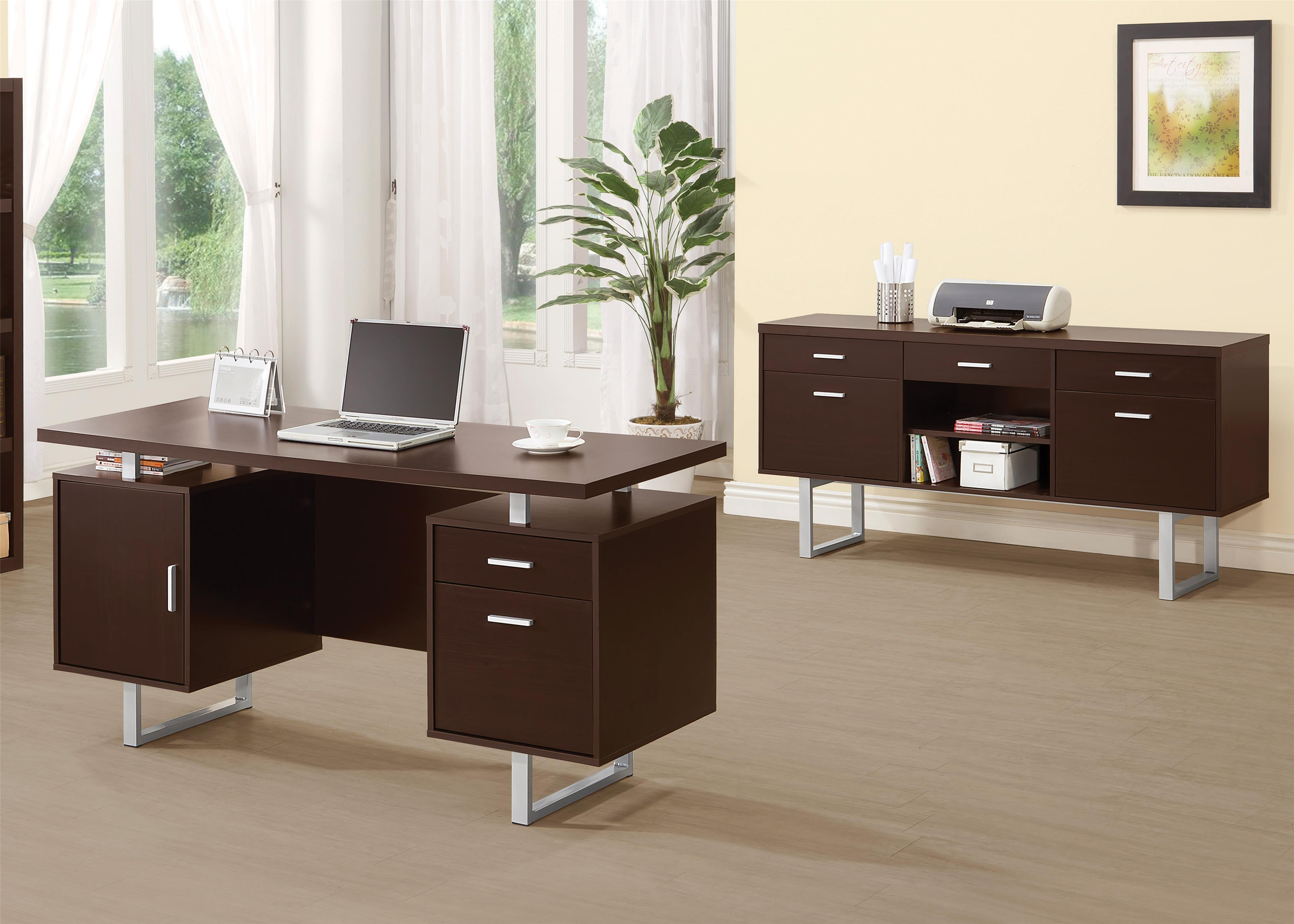 floating office desk. contemporary double pedestal office desk with metal sled legs u0026 floating top