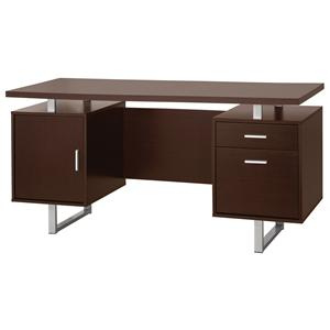 Contemporary Double Pedestal Office Desk with Metal Sled Legs & Floating Desk Top