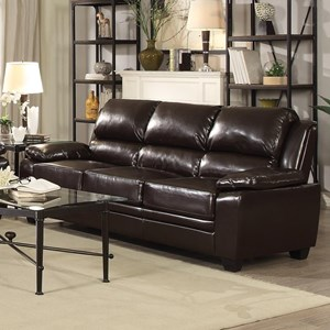 Leatherette Sofa with Pillow Arms