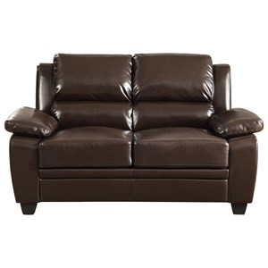Leatherette Loveseat with Pillow Arms