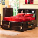 Coaster Phoenix Contemporary Queen Bookcase Bed with Underbed Storage Drawers - Bed Shown May Not Represent Size Indicated