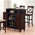 "Coaster Mix & Match Contemporary Bar with Wine and Stemware Storage - Shown with 30"" Cross Back Bar Stools"