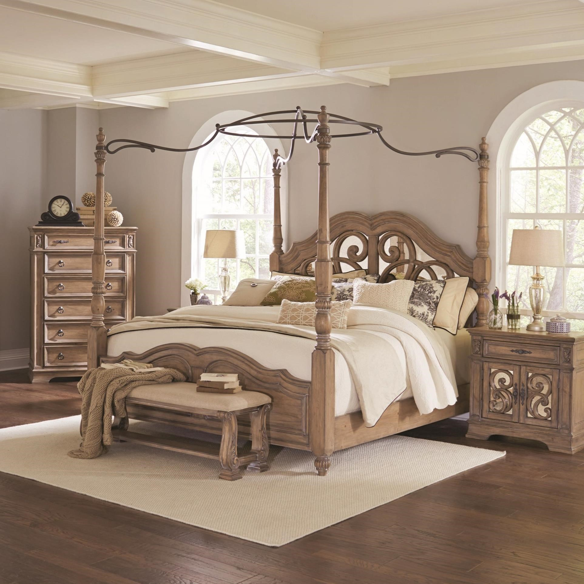 King Canopy Bed with Mirror Back Headboard by Coaster