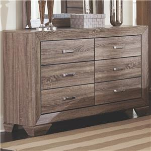 Dresser with 6 Drawers and Tapered Feet