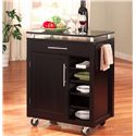 Coaster Kitchen Carts 1 Drawer Compact Kitchen Cart with 6 Shelves & Casters