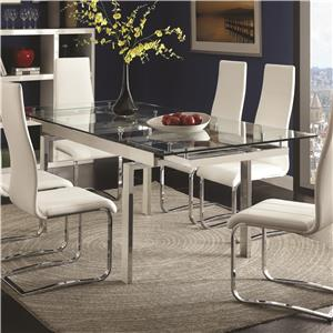 Contemporary Glass Dining Table With Leaves