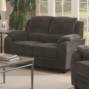 Casual Loveseat with Velvet-Like Fabric