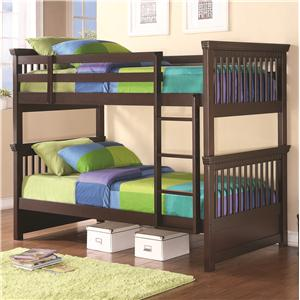 Twin Bunk Bed with Spindle Headboard and Footboard