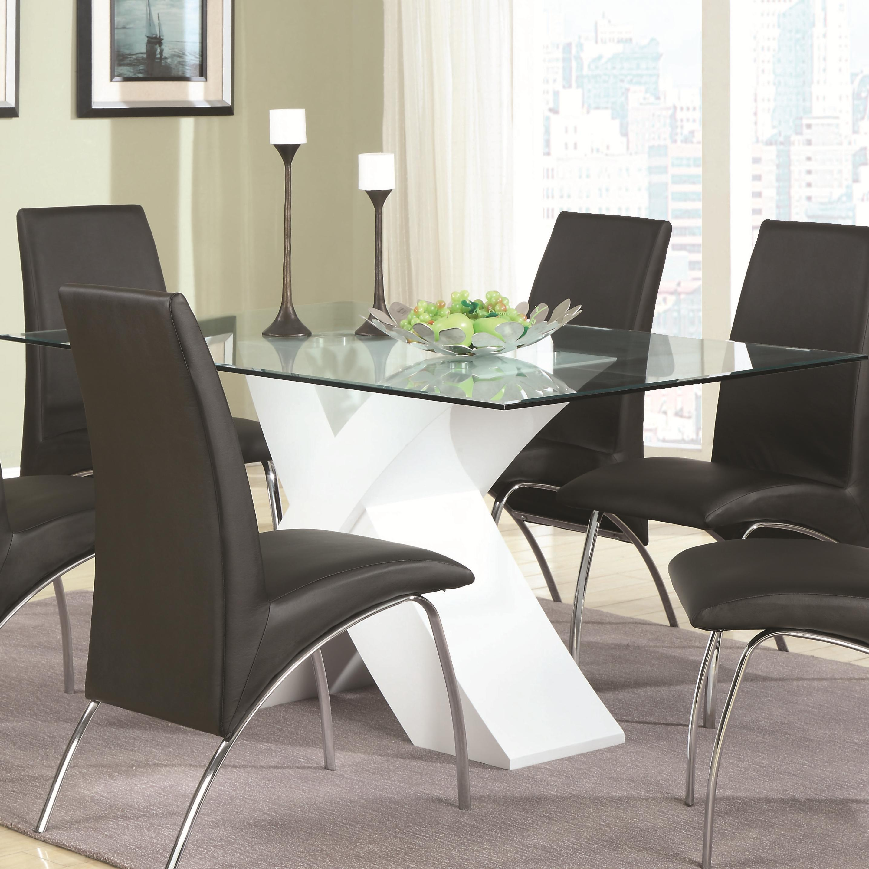 Contemporary Glass Top Dining Table with White X Pedestal  : products2Fcoaster2Fcolor2Fophelia20 20 181734809120821 b0 from www.wolffurniture.com size 2872 x 2872 jpeg 578kB