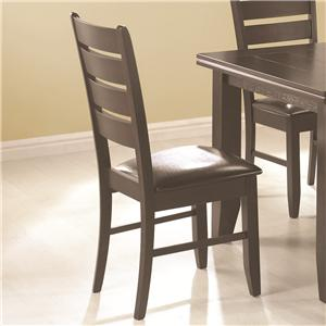 Contemporary Slat Back Dining Side Chair with Upholstered Seat