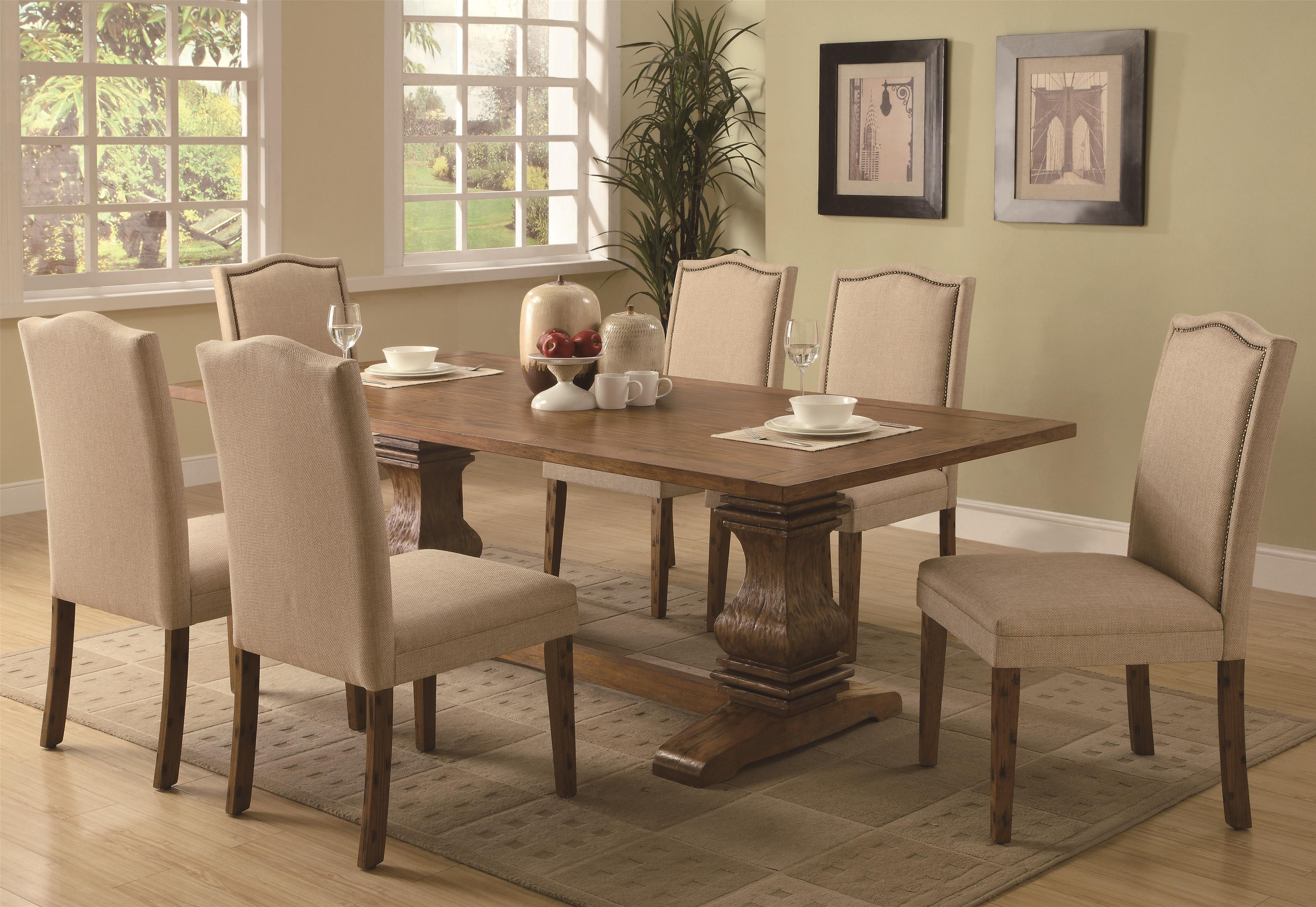 Dining Table with Shaped Double Pedestals by Coaster | Wolf and ...