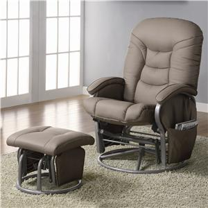 Casual Leatherette Glider Recliner with Matching Ottoman
