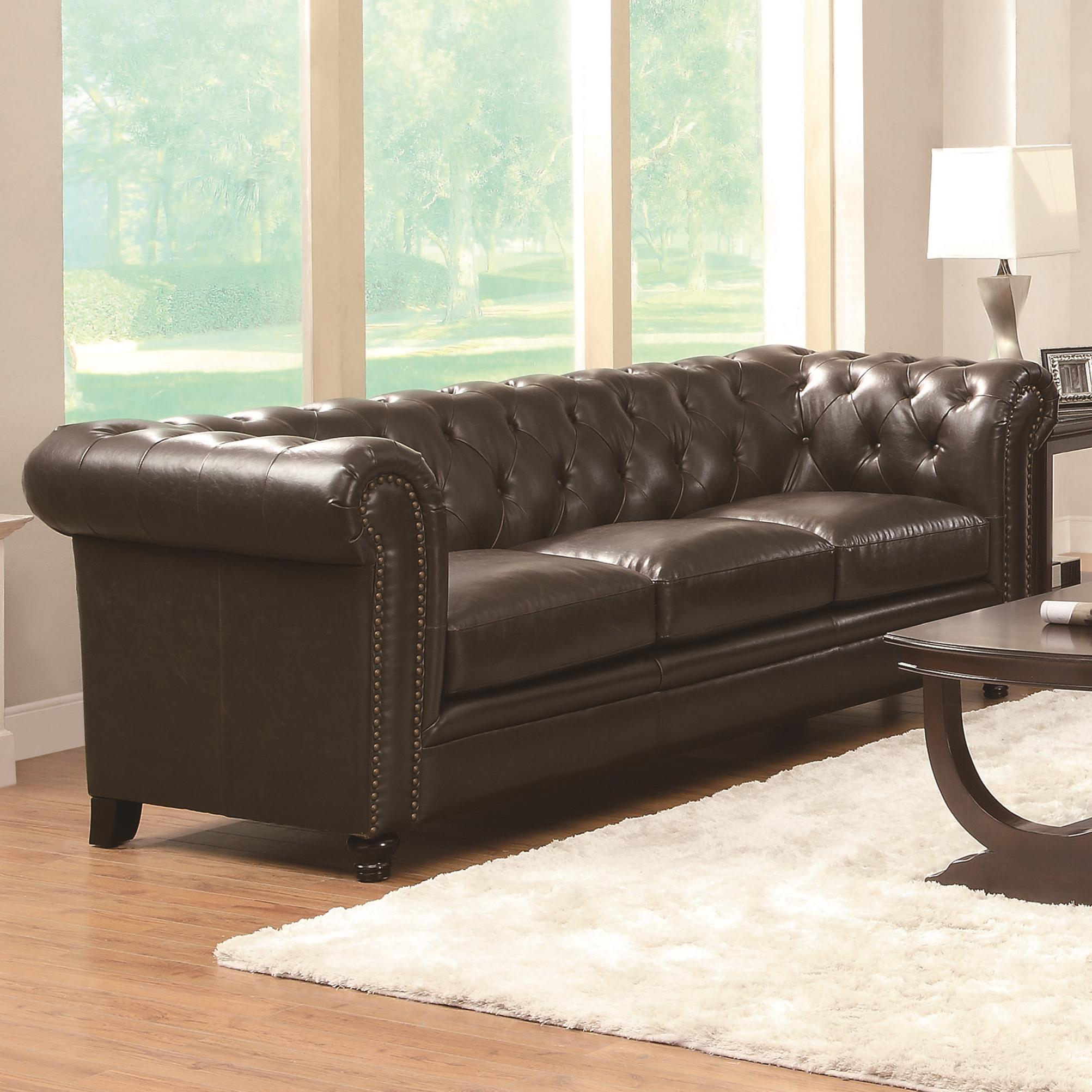 Traditional Button Tufted Sofa With Rolled Back And Arms