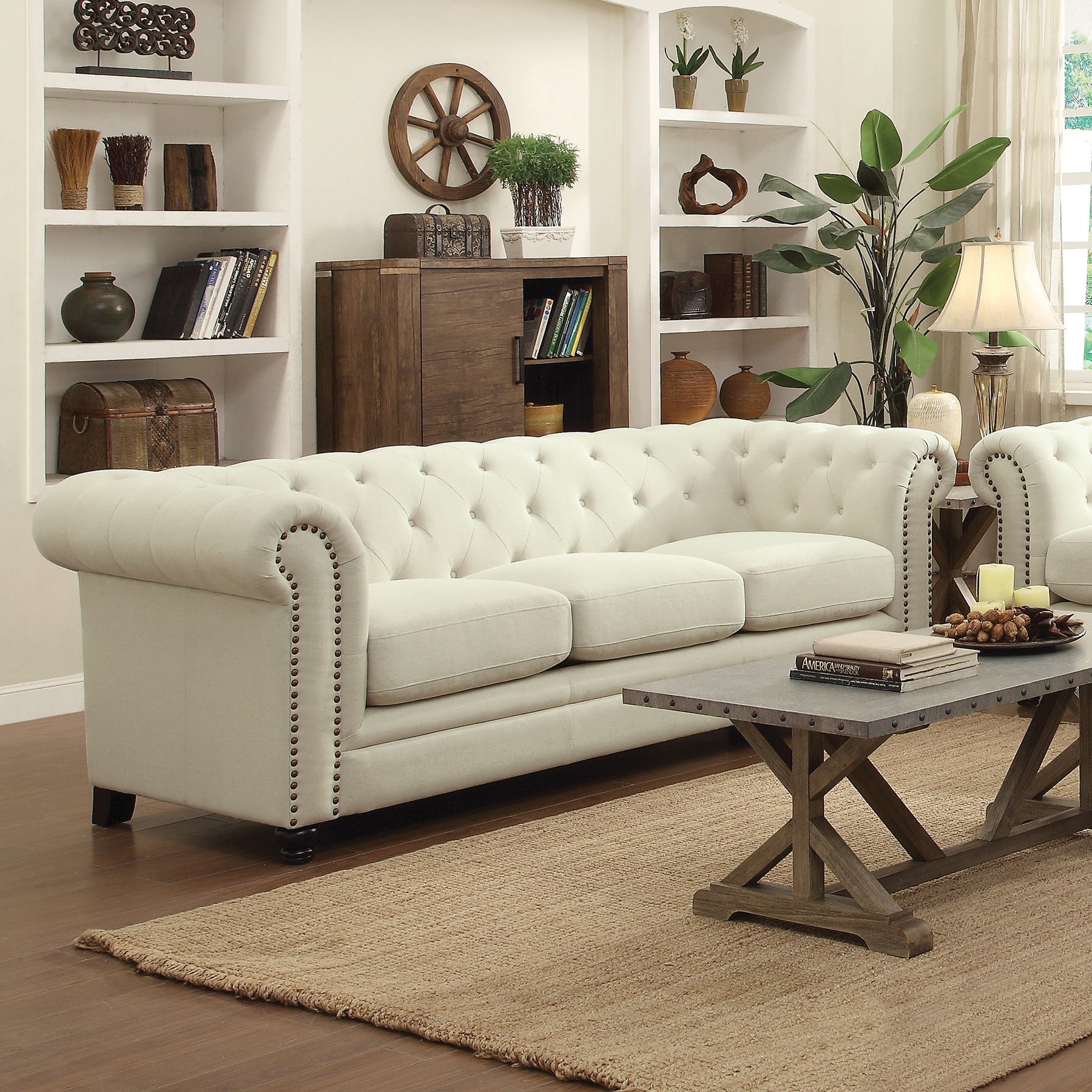 Traditional Button Tufted Sofa with Rolled Back and Arms by