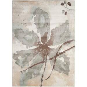 Grey Floral Rug 5'3