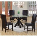 Coaster Shoemaker Crossing Pedestal Table Base with Round Beveled Glass Top - Shown in Room Setting with Parson Chairs