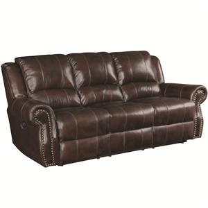 Traditional Reclining Sofa with Nailhead Studs