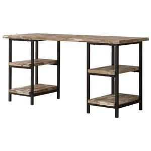 Modern Rustic Writing Desk with Metal Frame and Distressed Finish Top & Shelves