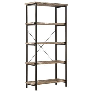 Modern Rustic Bookcase with Metal Frame and Distressed Finish Shelves