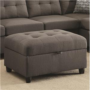 Grey Storage Ottoman With Button Tufting