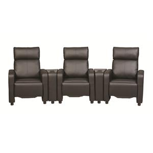Contemporary Five Piece Reclining Home Theater Seating with Console Tables