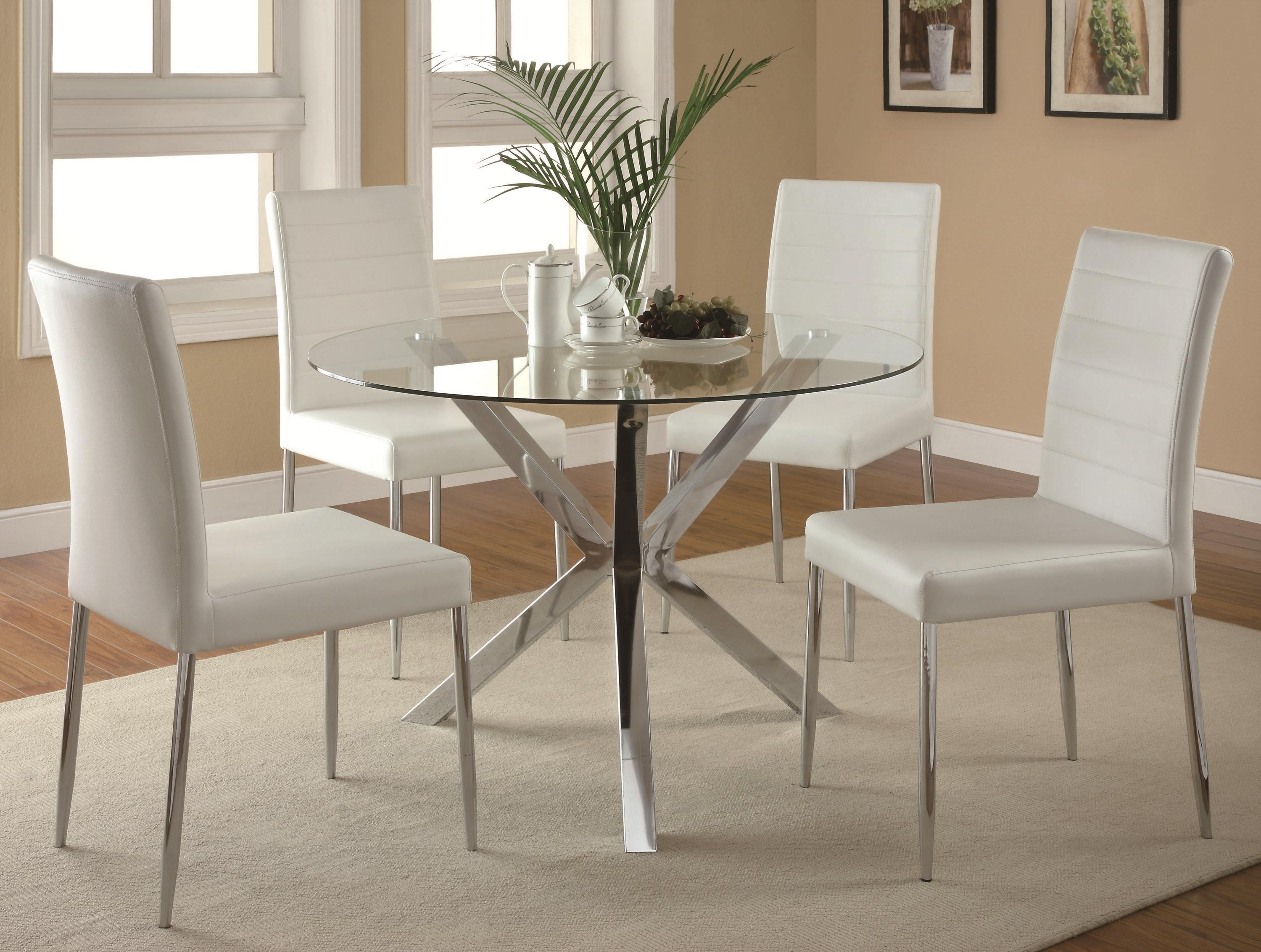 5-Piece Table u0026 Chair Set & Contemporary 5-Piece Glass Top Table and Chair Set by Coaster | Wolf ...