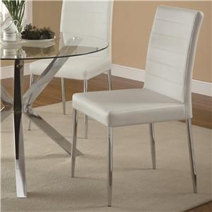 Contemporary Dining Chair with White Vinyl Seat Cushion