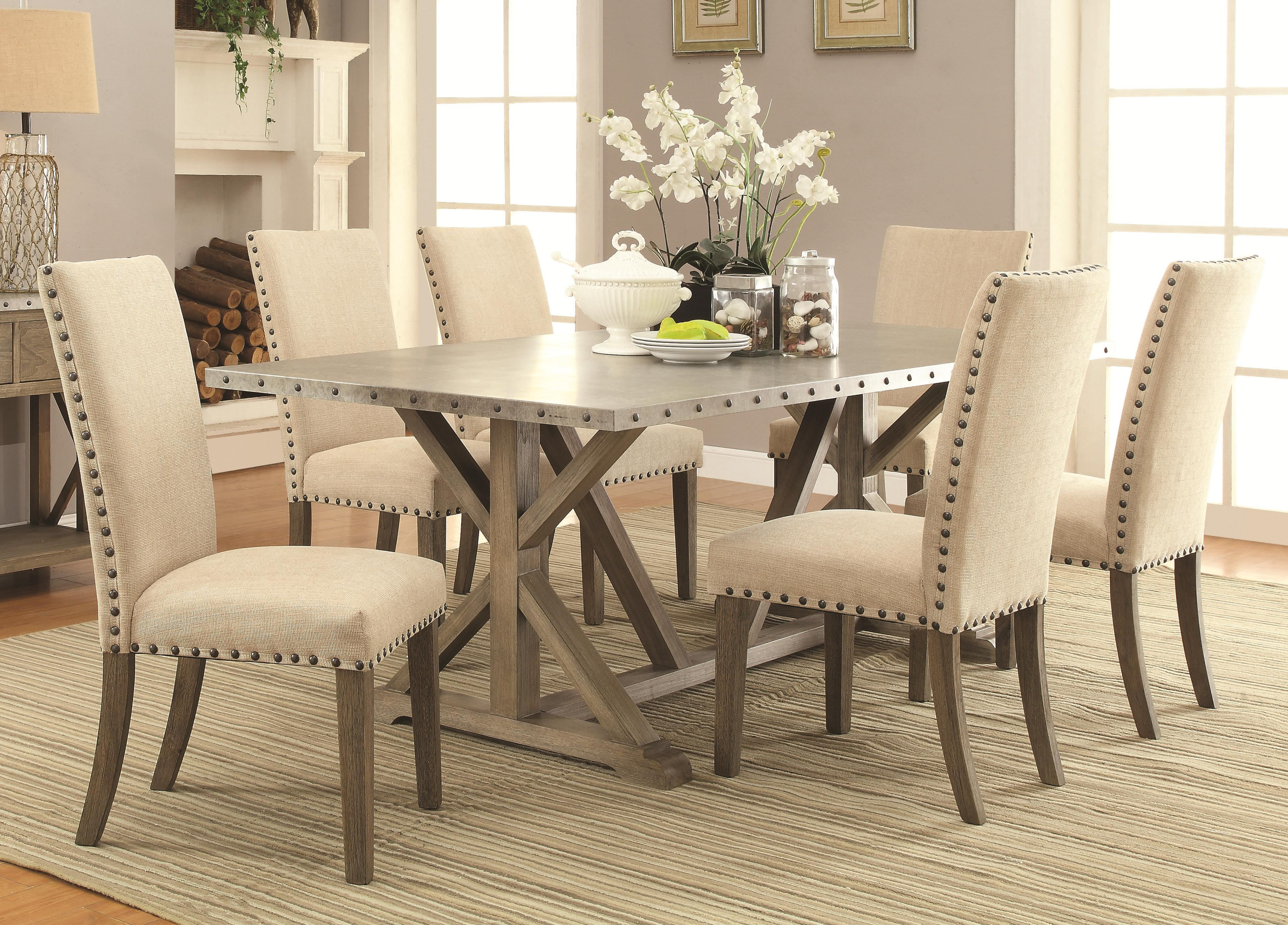 7 Piece Transitional Style Table and Chair Set with Metal Top and ...