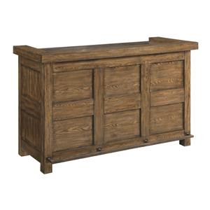 Rustic Arts and Crafts Bar Cabinet with Wine Storage
