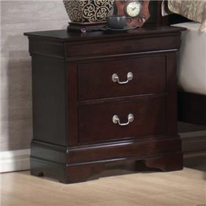 Louis Philippe Style 2 Drawer Nightstand with Hidden Jewelry Storage