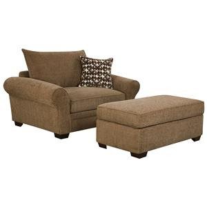 Extra Large Chair And A Half U0026 Ottoman Set For Casual Styled Living Room  Comfort Part 66
