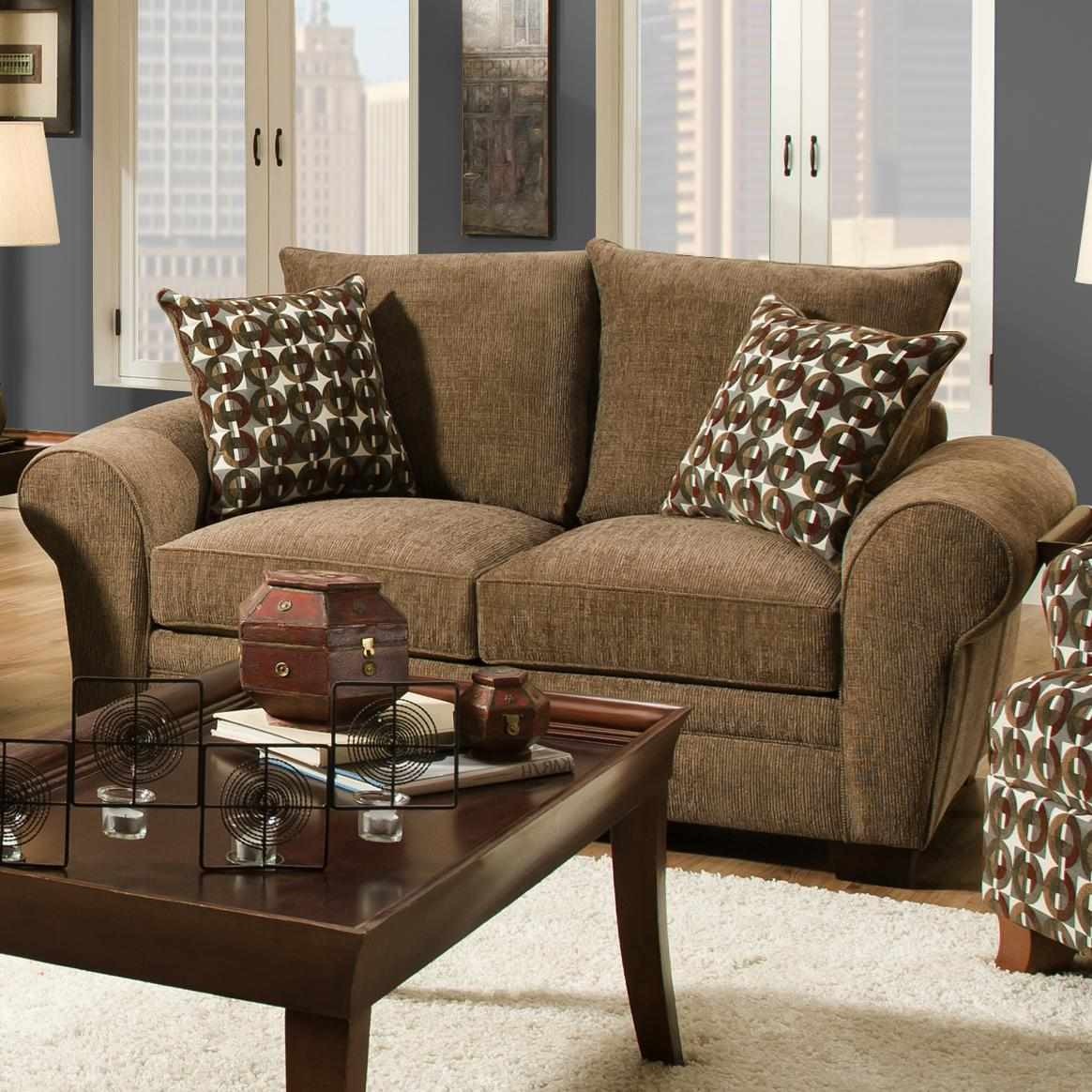 Traditional Styled Loveseat with Comfortable Look for Casual Family ...