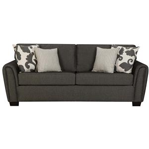 Contemporary Stationary Sleeper Sofa With Tapered Roll Arms