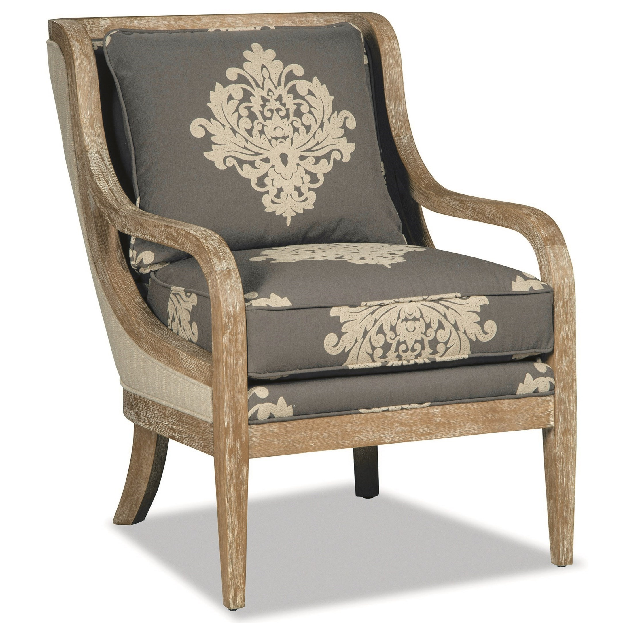 Accent Chair With Exposed Wood Trim In Weathered Oak By