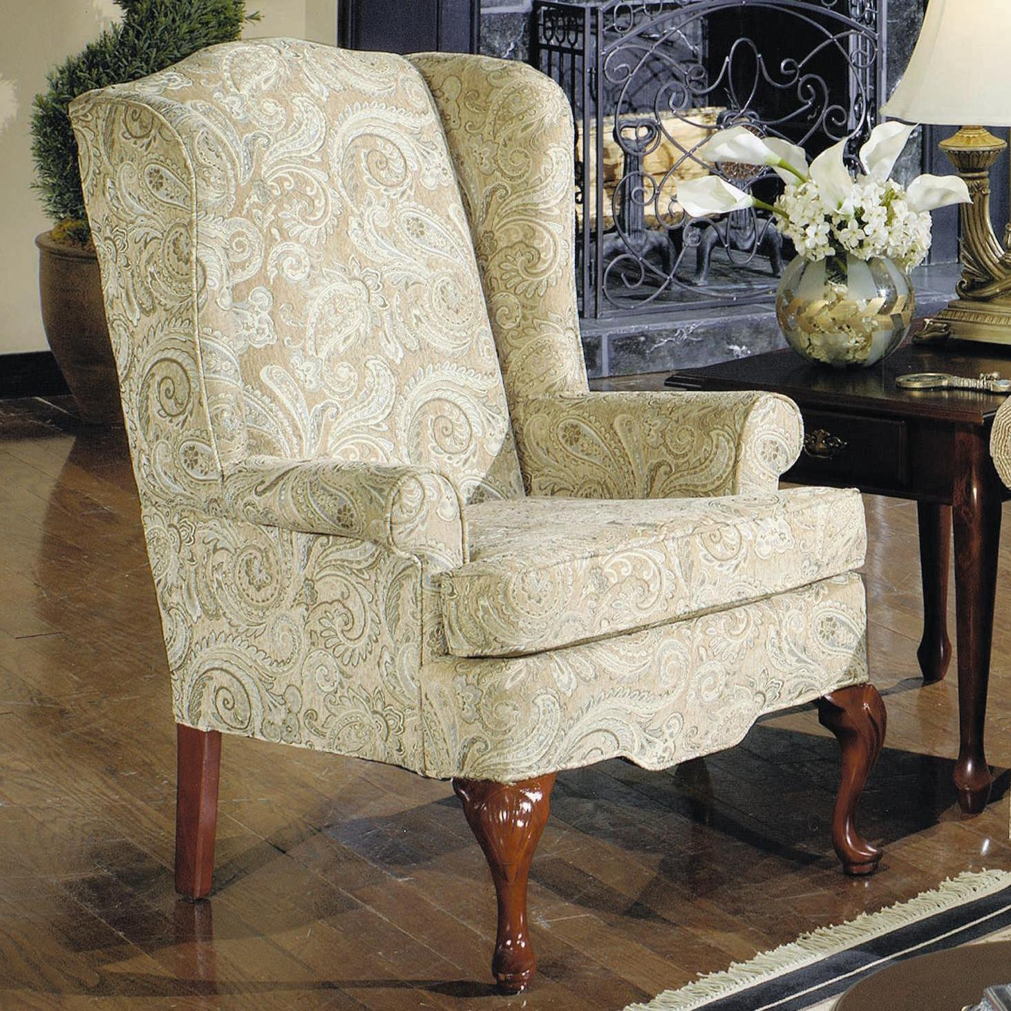 Traditional Wing Chair with Rolled Arms by Craftmaster | Wolf and ...