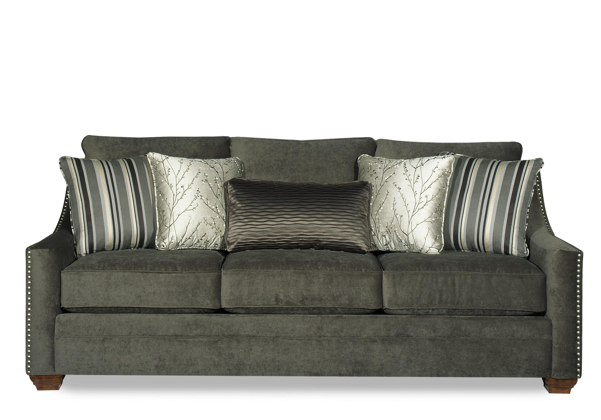 Casual Fabric Sofa With Track Arms And Nail Head Trim