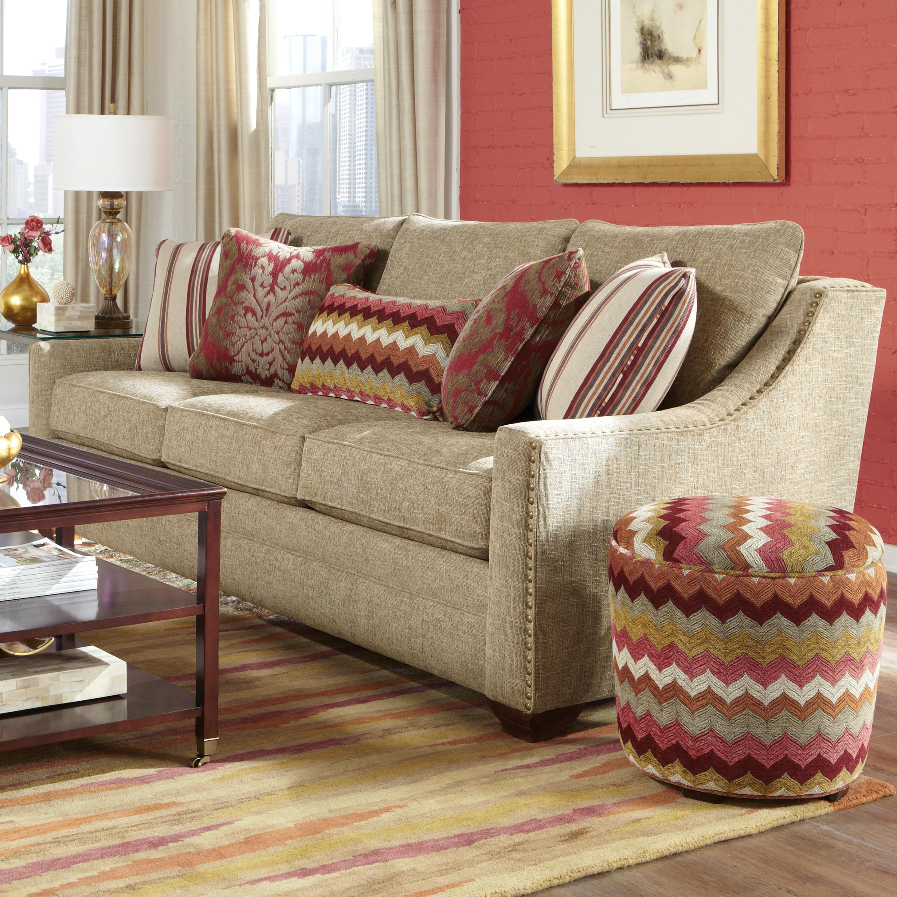 Oversized Sofa Pillows: Transitional Sofa With Oversized Nailheads And Toss