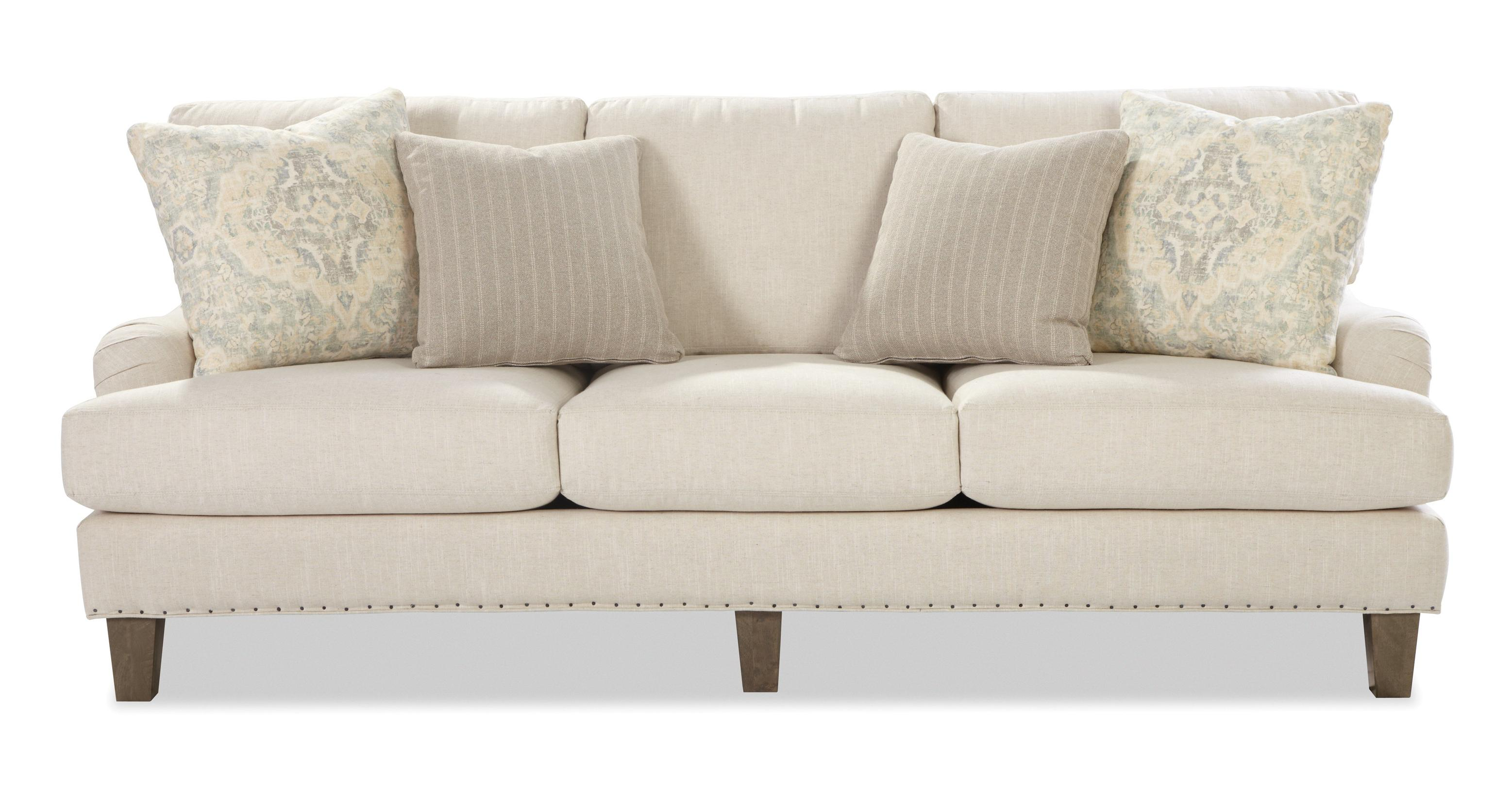 Transitional English Arm Sofa with Vintage Tack Trim by