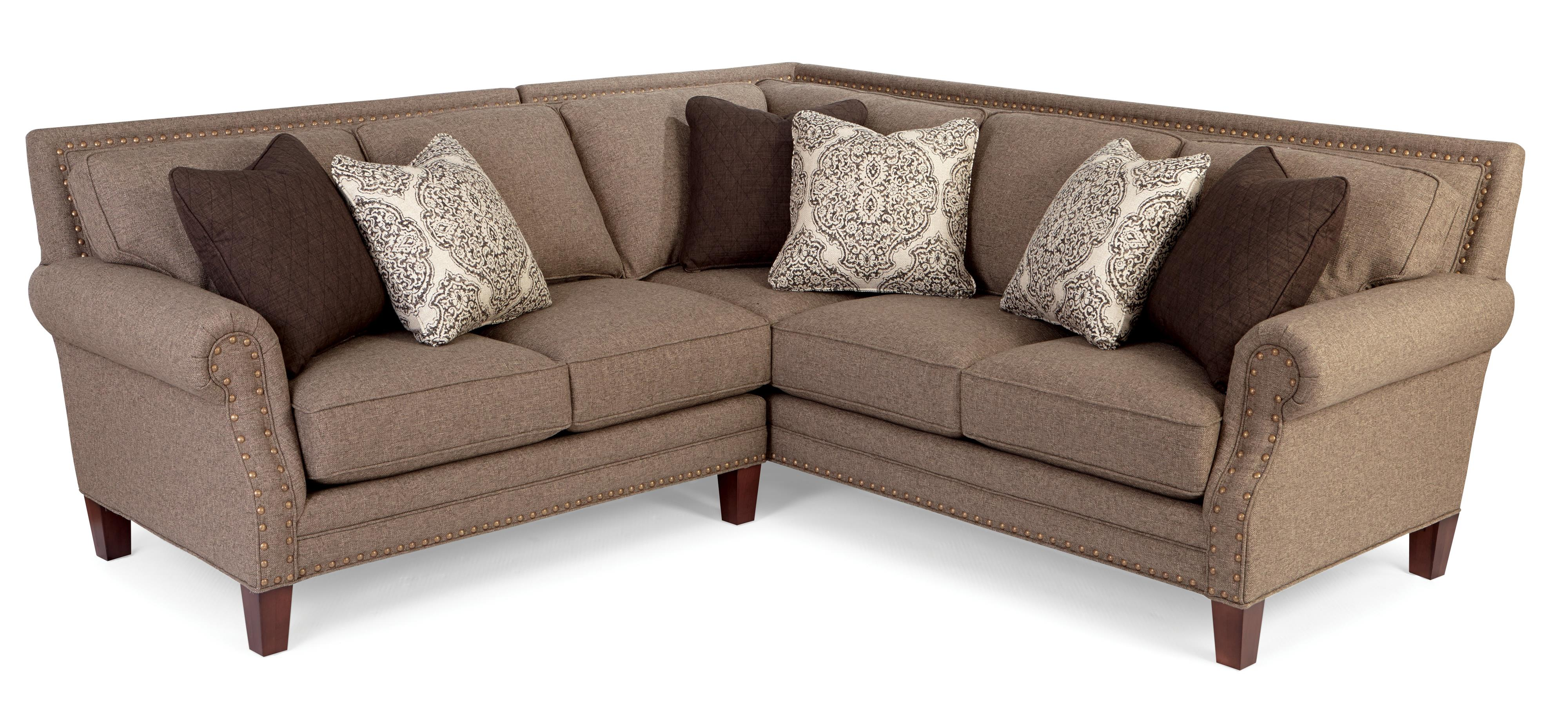 Superieur Two Piece Sectional Sofa With Rolled Arms And Light Brass Nailheads