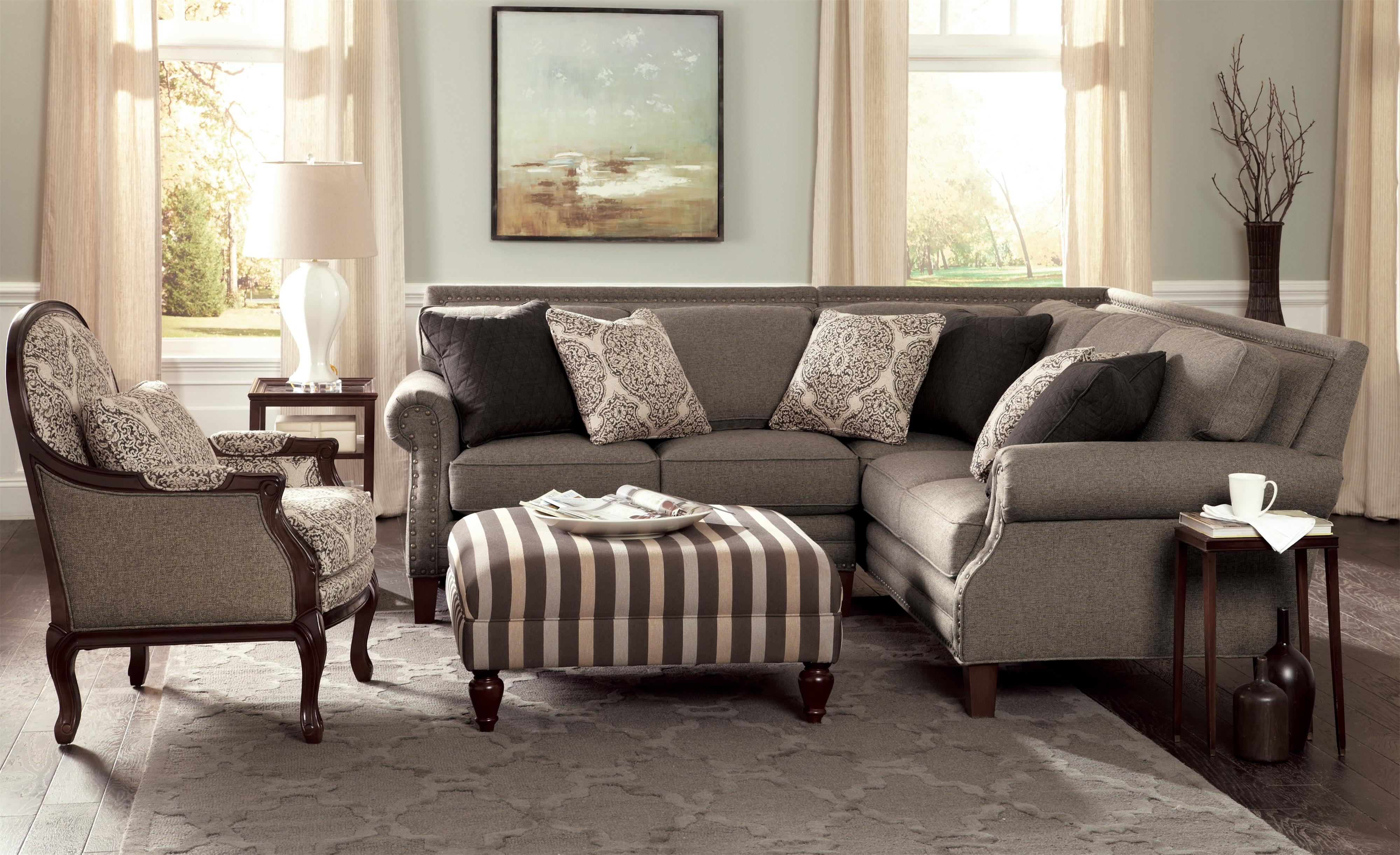 Two Piece Sectional Sofa with Rolled Arms and Light Brass