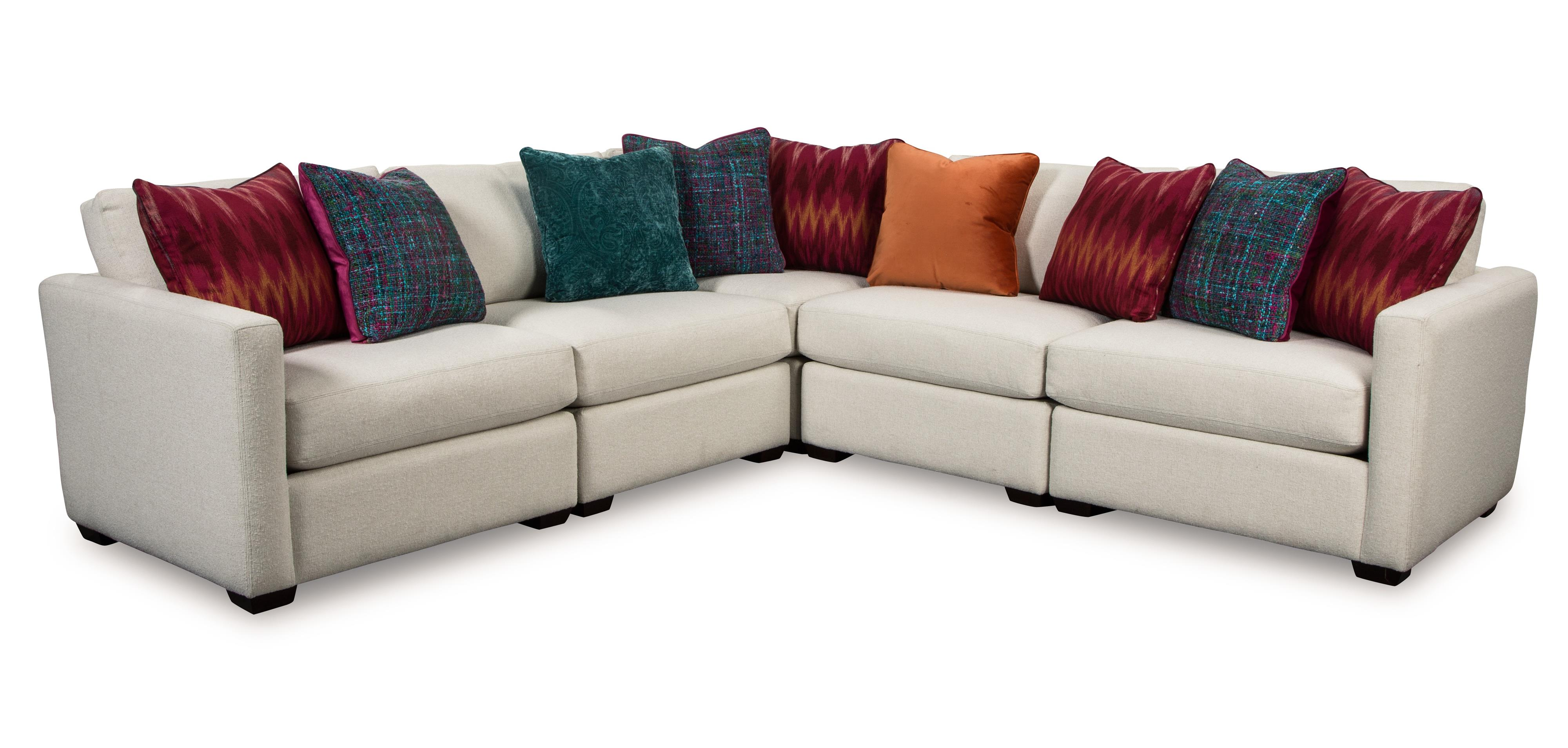 Five Piece Corner Sectional Sofa With Toss Pillows By
