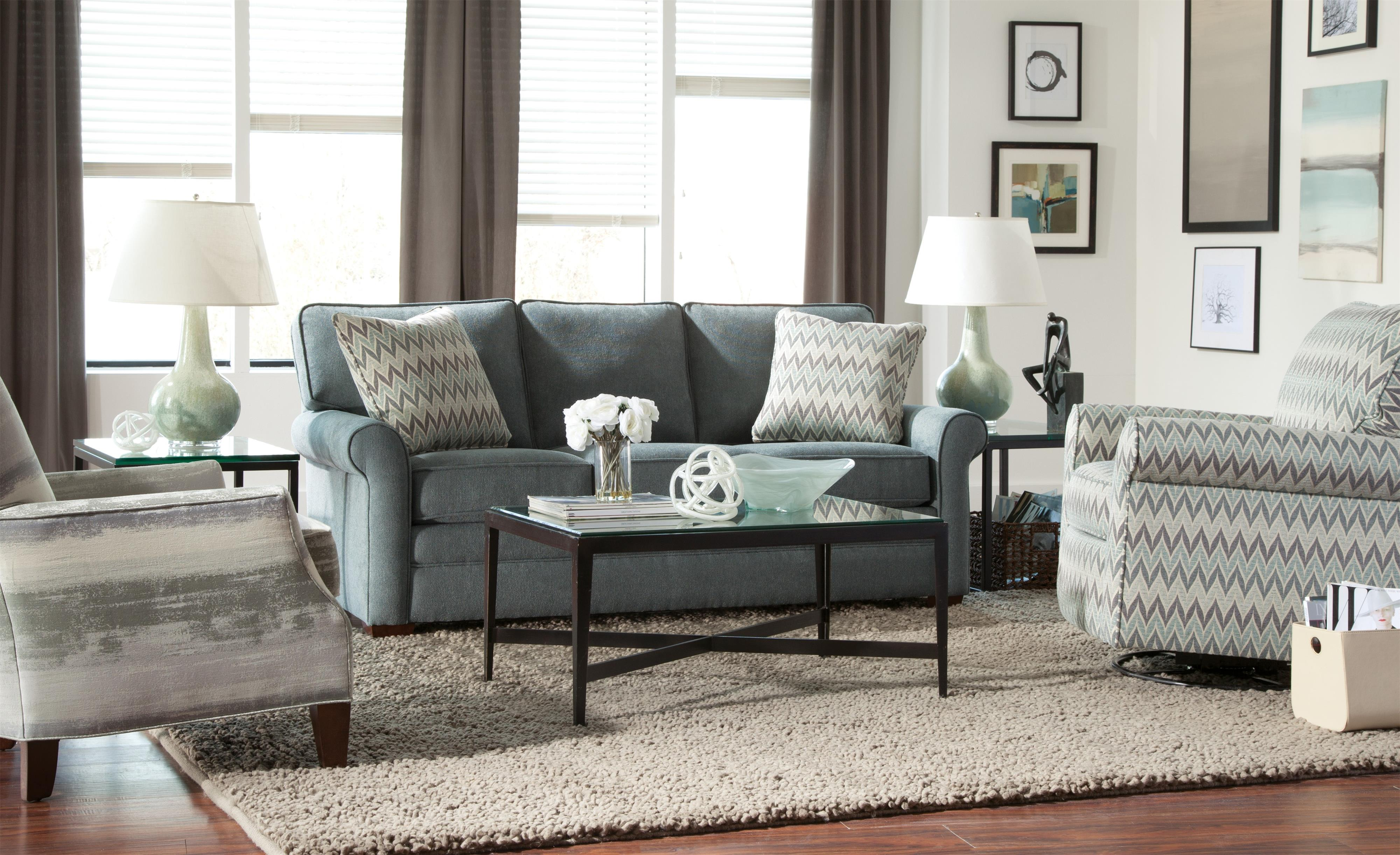 Transitional Sofa with Rolled Arms and Loose Back Cushions by