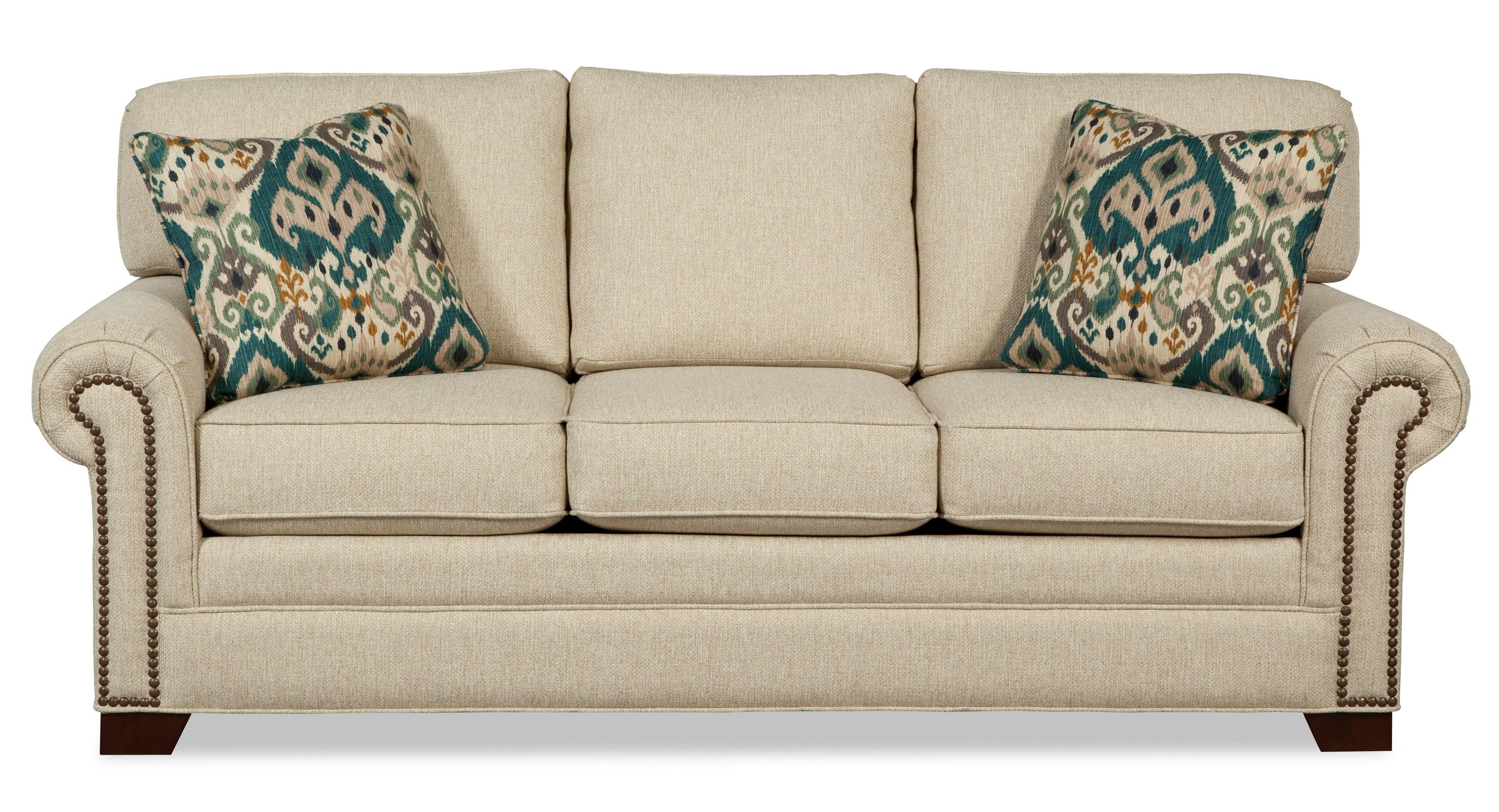 Transitional Sleeper Sofa With Brass Nailheads And Memory Foam Mattress