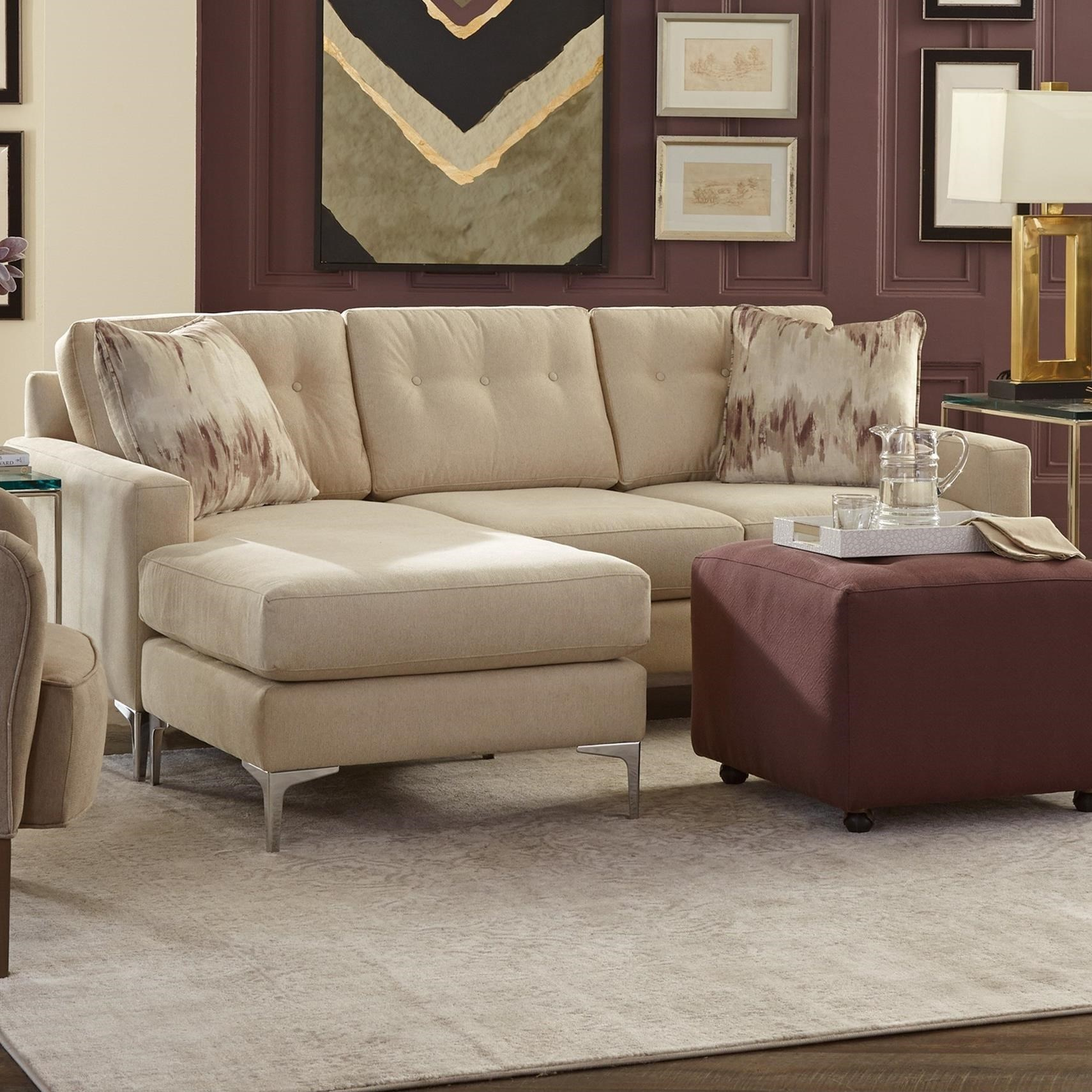 Modern Tufted Sofa With Chaise And Metal Legs