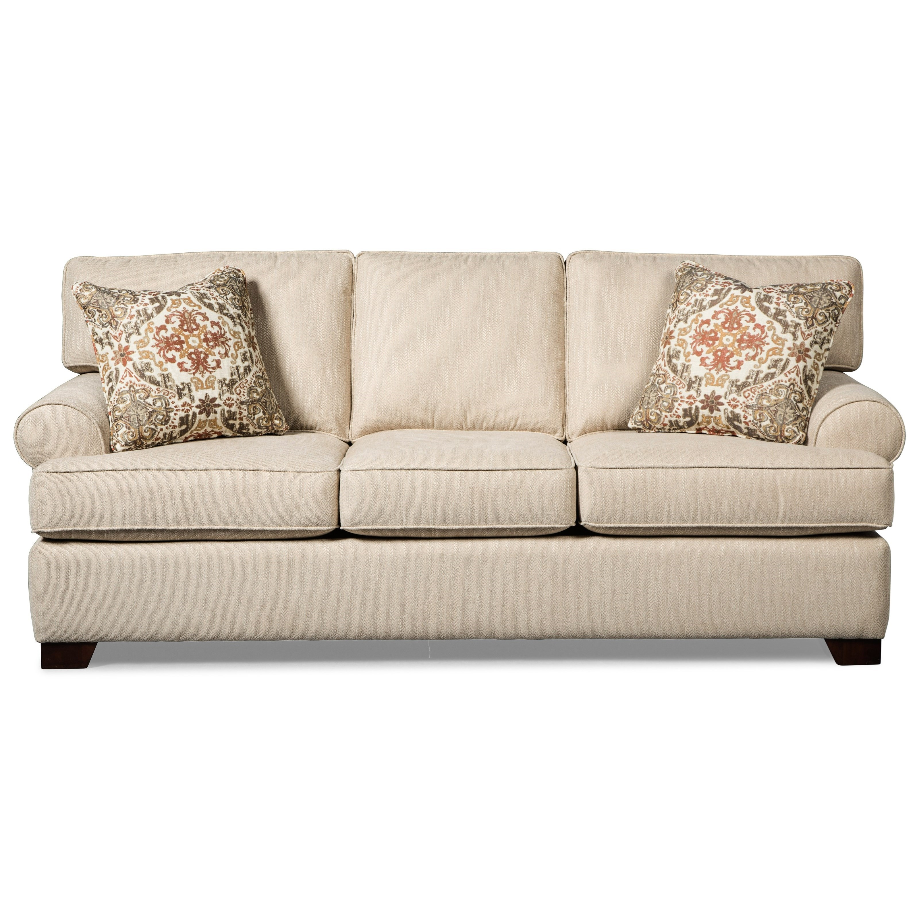 Casual Queen Sleeper Sofa With Rolled Arms And Memory Foam Mattress