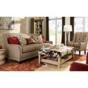Craftmaster 7698 Transitional Wing Back Sofa with Brass Nailheads