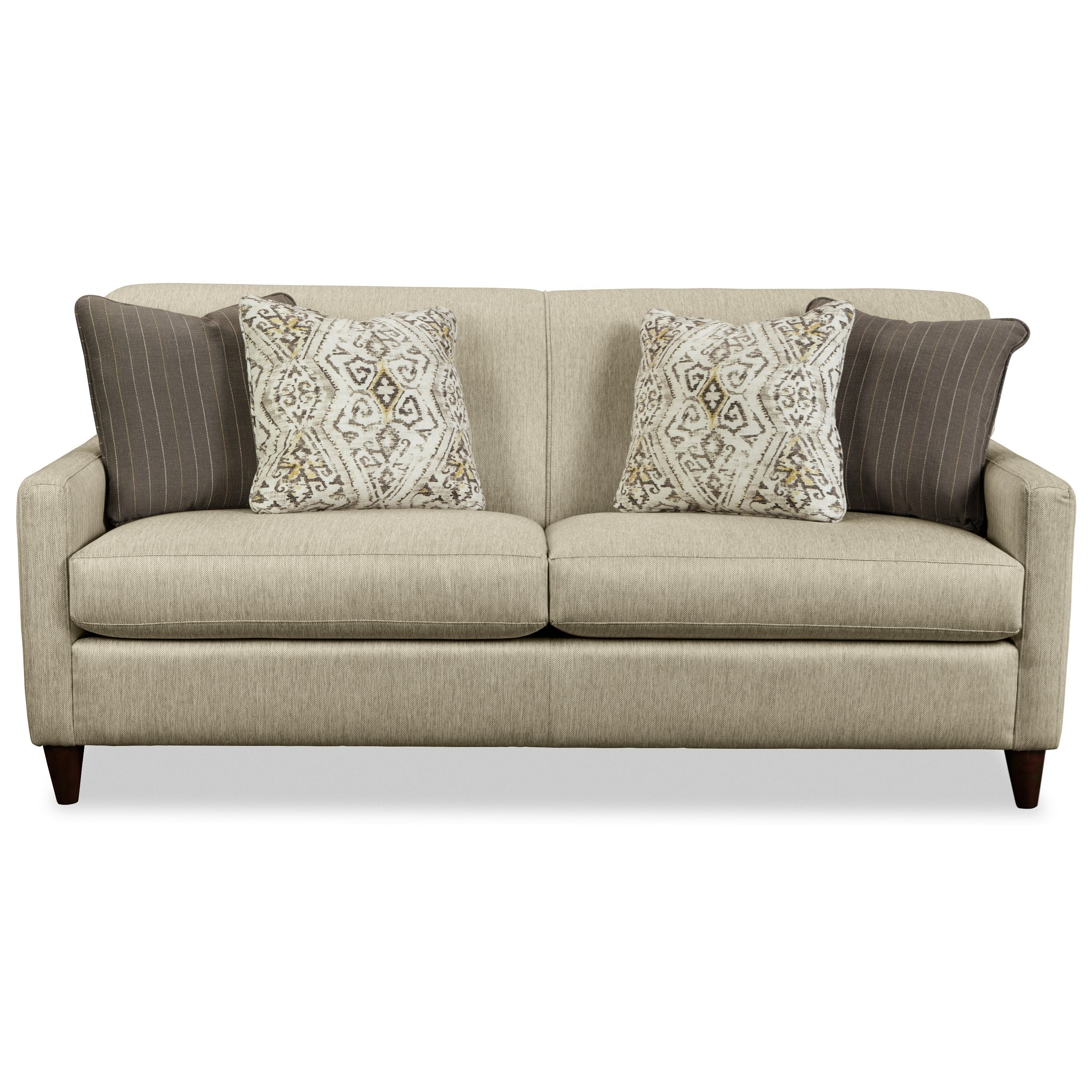 Contemporary Apartment-Size Sofa with Four Pillows by Craftmaster ...