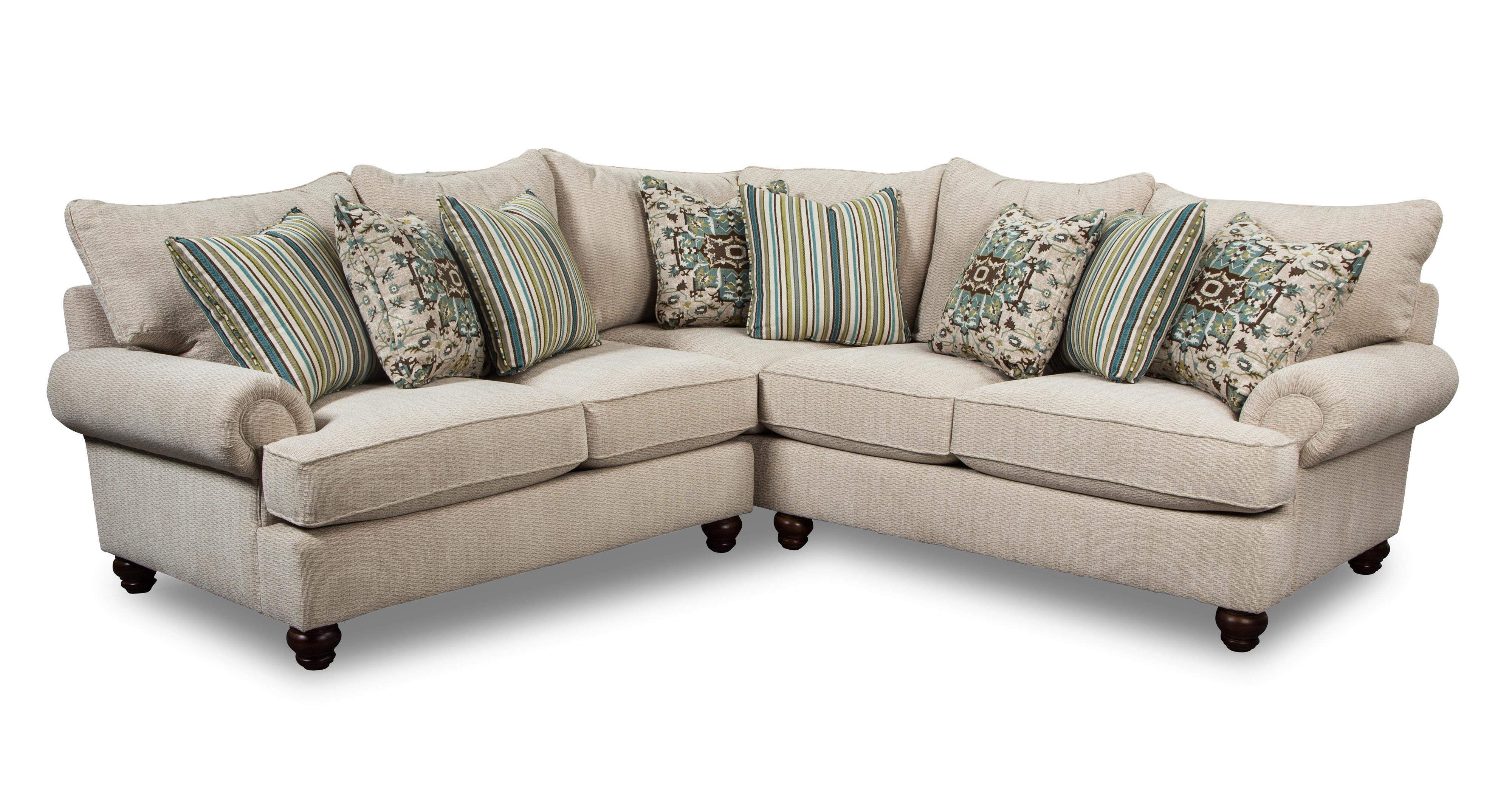 Two piece sectional sofa with turned wood feet by